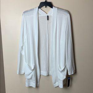 White 3X Open Front Cardigan asymmetrical